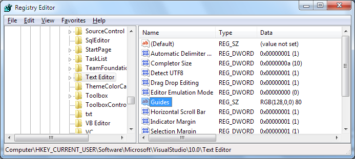 Editor Guidelines Registry Editor Screenshot